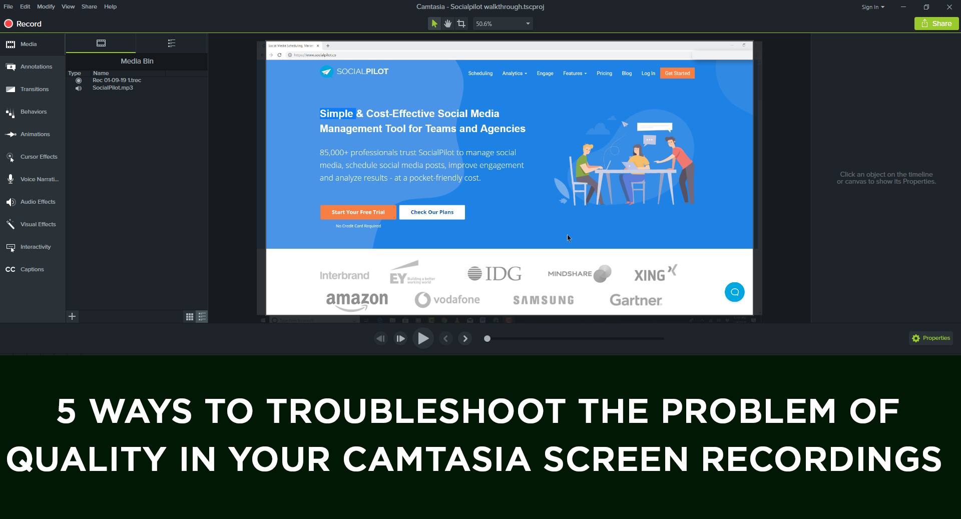 Read more about the article 5 Ways to Troubleshoot  Problems of Video Quality in Your Camtasia Screen Recordings if the Client is Complaining of Poor Quality